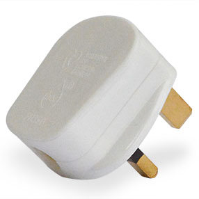 Stylish Matt White 3 pin 3amp fused UK electrical plug