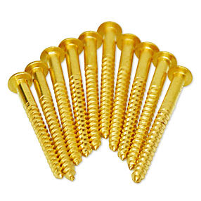 10 large brass domed pan head large screws No.8 x 2