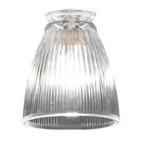 Small clear ribbed glass shade