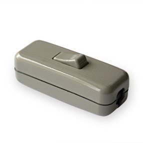 Grey in-line Rocker lamp switch