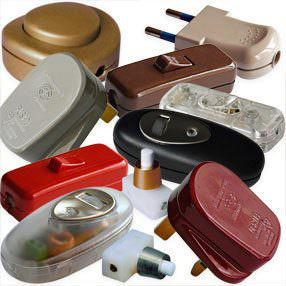 coloured lamp switches and electrical plugs