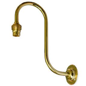 Large brass swan neck Bayonet bulb wall light