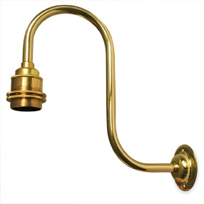 Large swan neck brass Edison wall light