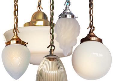 glass, metal and plastic lightshades in vintage and contemporary designs