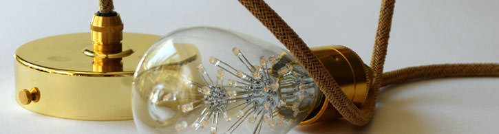 brass ceiling plate with led vintage jewel lamp bulb