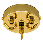 triple outlet ceiling rose in brass