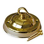 large brass ceiling plate with single hook