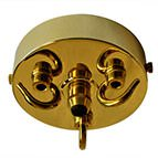 3-hook & cord grip brass ceiling rose