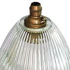 ribbed holophane glass elongated dome glass light shade with aged brass bayonet lampholder