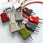 coloured 2pin electrical plugs