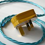 gold 3pin plug with teal flex