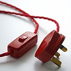 glossy red 3-pin plug and rocker switch