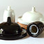 black & white china ceiling plates with cord grips