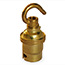 Brass BC lamp holder with hook (no shade rings)