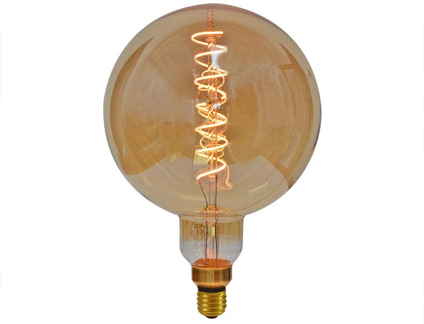 Mega Edison Globe Gold Curved Led Light Bulb Es