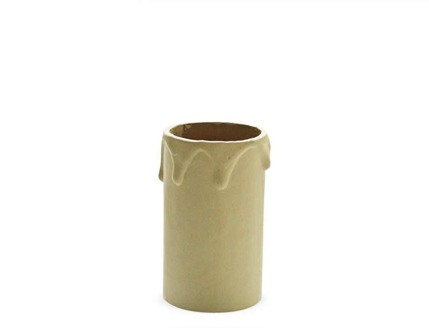 Cream Card Candle Tube Sleeve With Wax Look Drips 60mm
