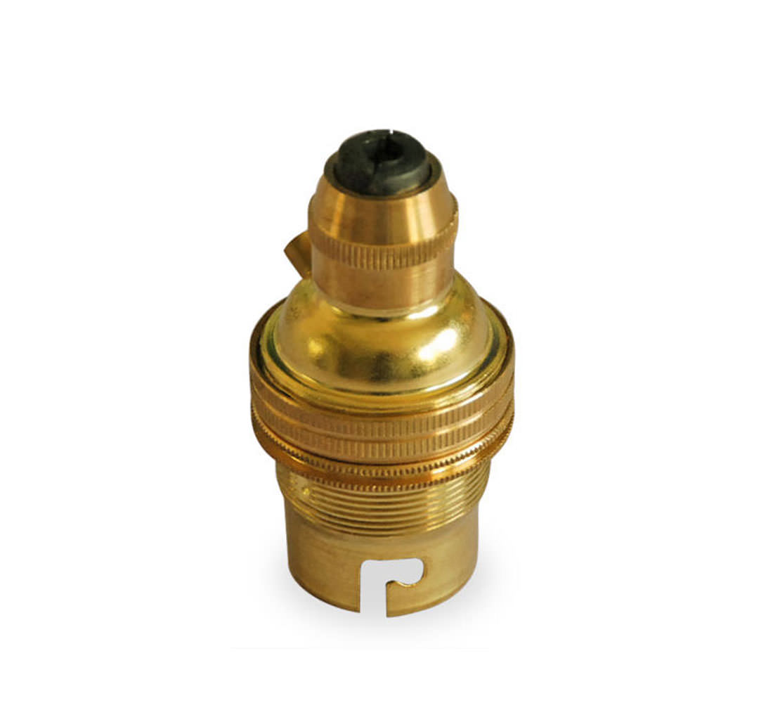 Bayonet Lamp Holder With Cordgrip In Brass