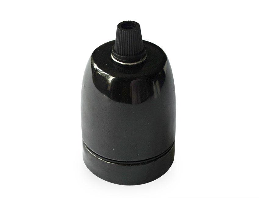 E27 Pendant Lamp Holder Lovely Black Glazed Porcelain