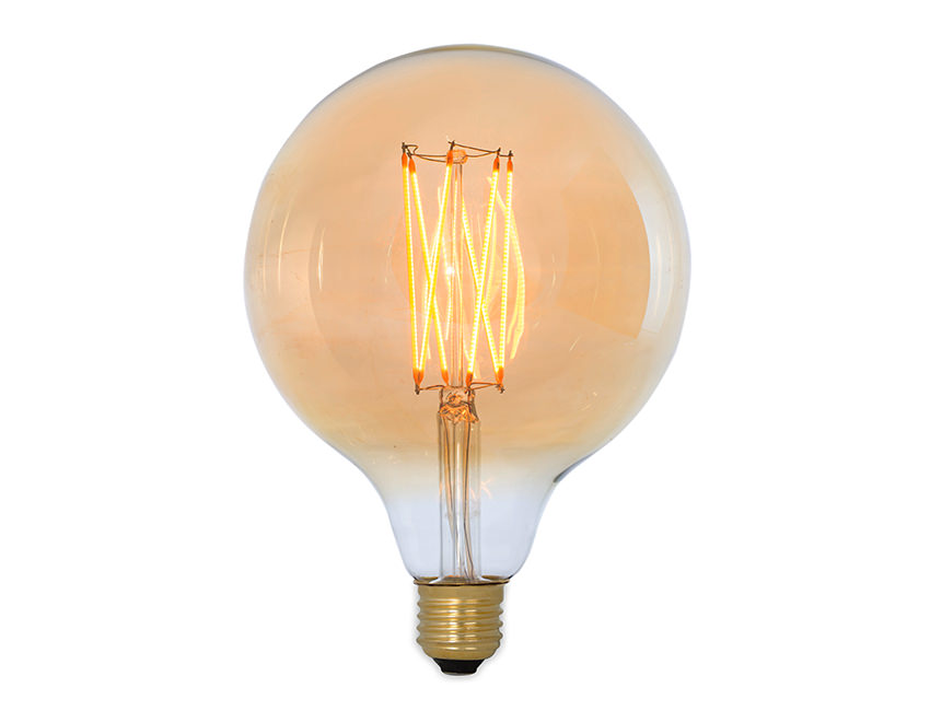 Large Gold Globe Squirrel Cage Led Light Bulb Es