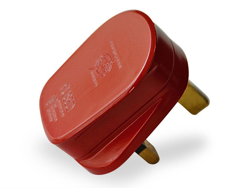 Red Coloured Plastic Uk 3 Pin 3 Amp Plug