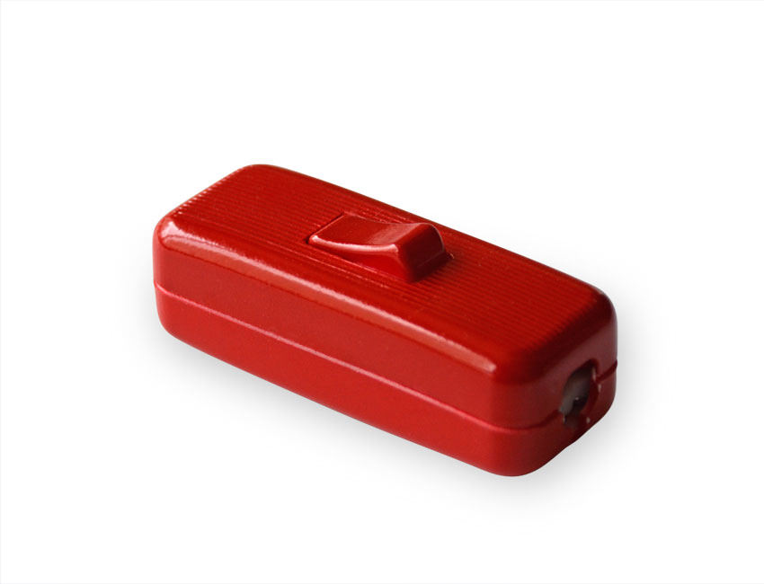 Bright Red in-line cable rocker table lamp switch