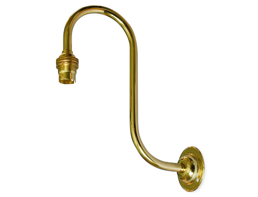 Quality solid brass swan neck large BC wall light