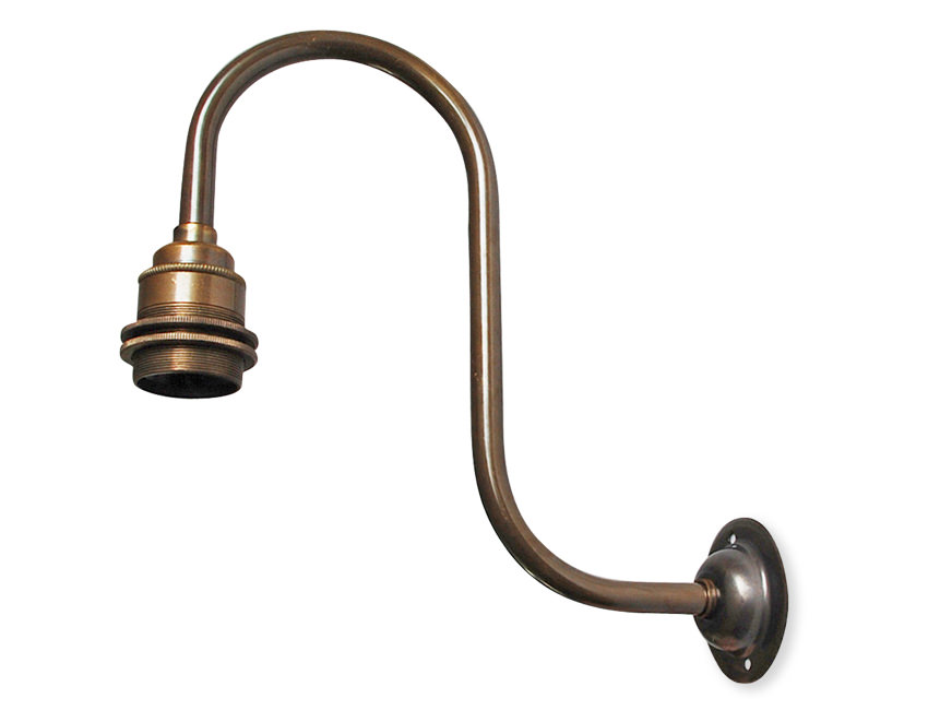 Large Bulb Wall Lights : Antique brass large swan neck Edison wall light arm