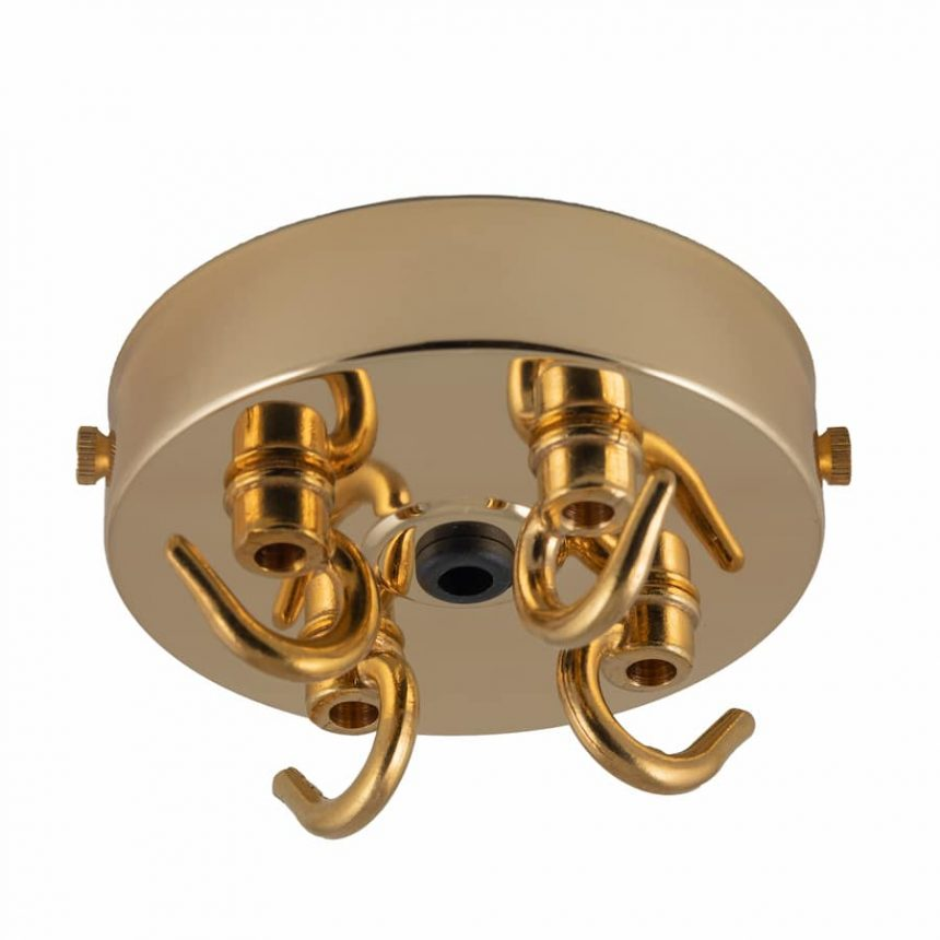 Brass Ceiling rose with 4 hooks
