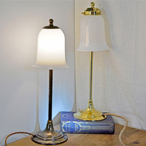 big kits table lamp lightshade bell handblown white glass bc aged fittings 1 150x150