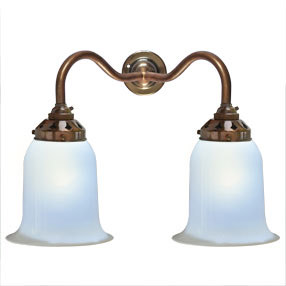 big kits wall light double bc antique lightshade handblown white 150x150
