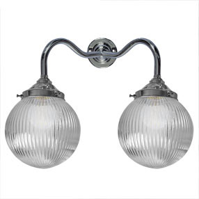 big kits wall light double bc chrome lightshade globe prismatic 150x150