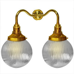 big kits wall light double es brass lightshade globe pristmatic 150x150