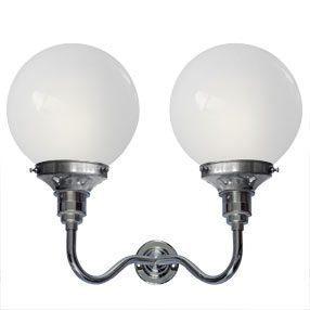big kits wall light double es chrome lightshade globe white 150x150