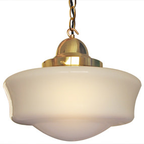 big lightshade school house white glass hang lit brass fittings 150x150