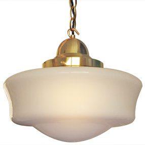 big lightshade school house white glass hang lit brass fittings 150x150