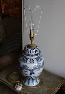 Vase with fitted lamp holder