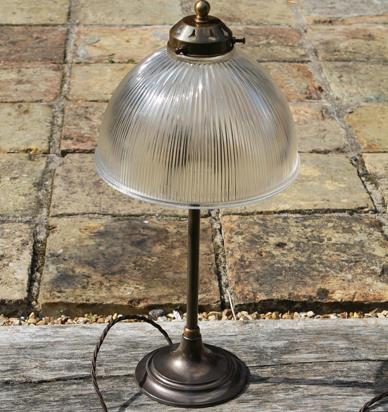 antique brass prismatic glass table lamp