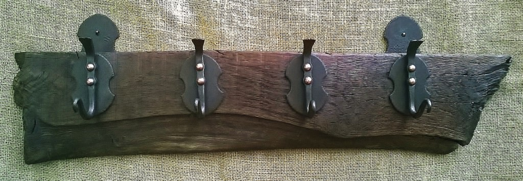 HAND FORGED COAT HOOKS WITH COPPER RIVET DETAILING