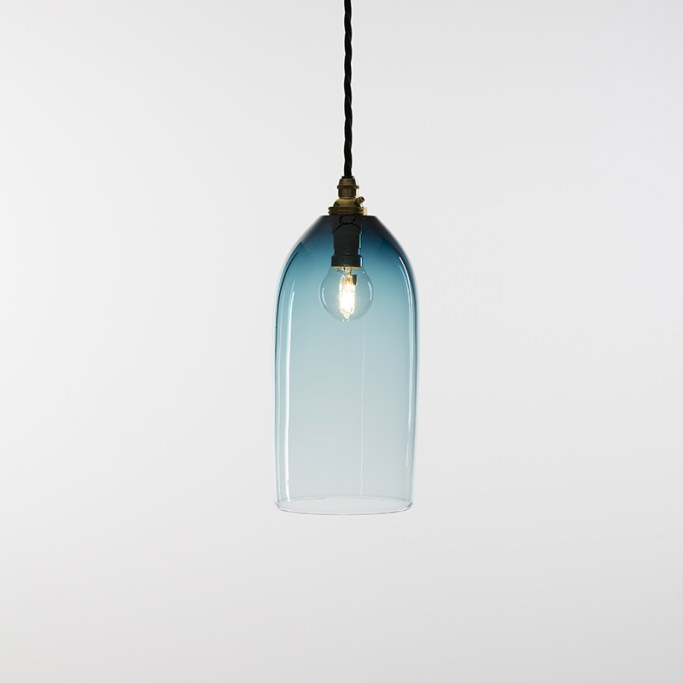 Steel blue bell pendant with cord grip lamp holder and flex
